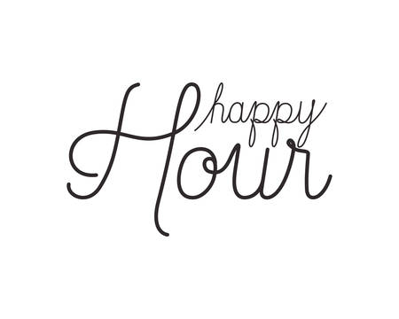 happy hour label icon vector illustration desing Illustration