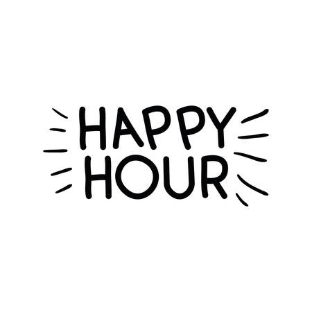 happy hour label icon vector illustration desing Stock Vector - 124436105