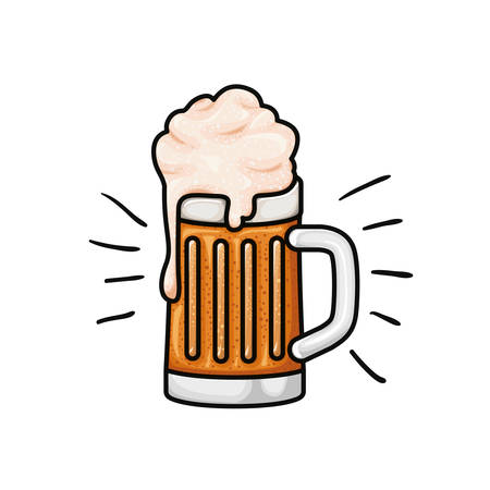 beer with foam isolated icon vector illustration design Illustration