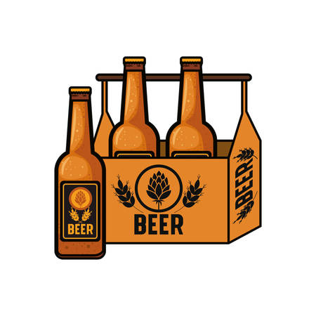 box with beer bottles isolated icon vector illustration design