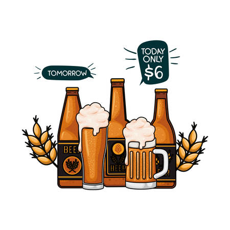 bottle of beer and glass isolated icon vector illustration design
