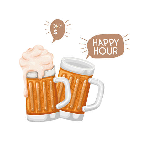 beer with foam isolated icon vector illustration desing