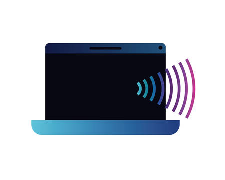 laptop with sound wave isolated icon vector illustration design