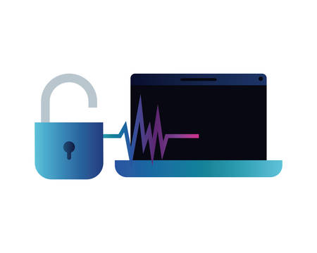 laptop with padlocked icon vector illustration design