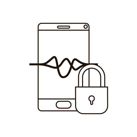 smartphone device with padlocked icon vector illustration design Vektorgrafik