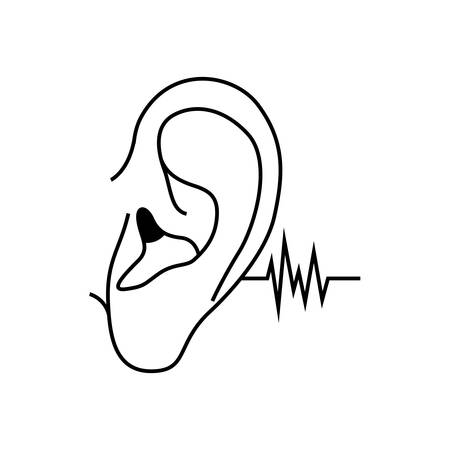ear with sound wave avatar character vector illustration design