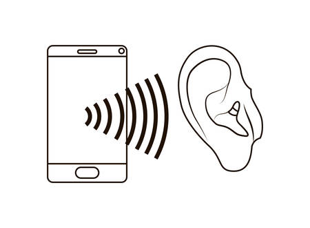 ear with sound wave and smartphone vector illustration design