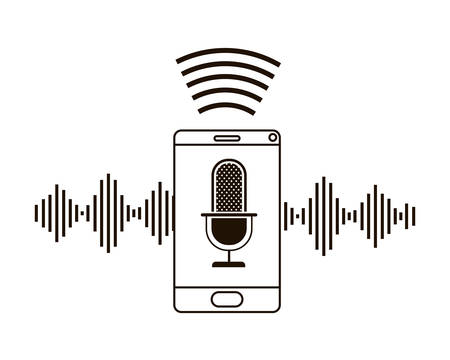 smartphone with voice assistant icon vector illustration design  イラスト・ベクター素材