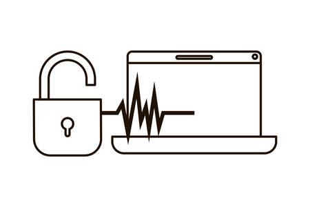laptop with padlocked icon vector illustration design Vektorgrafik