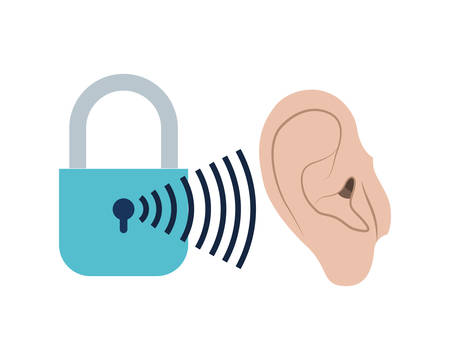 ear with sound wave and security padlock vector illustration design