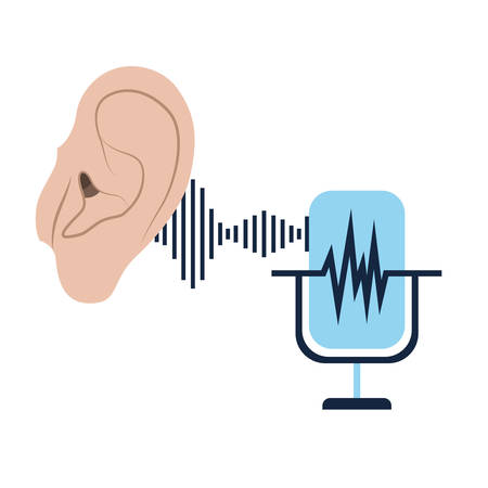 ear with sound wave and microphone vector illustration design