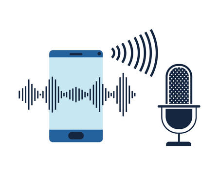 smartphone with voice assistant icon vector illustration design