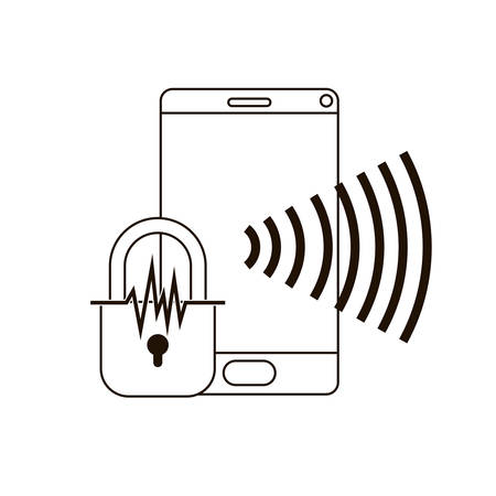 smartphone device with padlocked icon vector illustration design