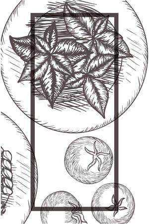 delicious italian food in drawing vector illustration desing
