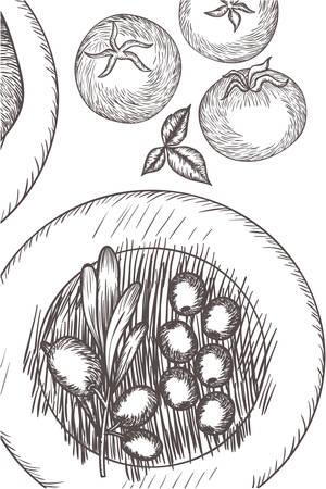 pattern of delicious italian food vector illustration desing
