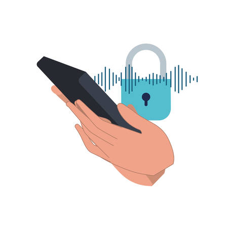 hand with smartphone and padlocked vector illustration design Vettoriali