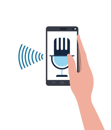 hand with smartphone and voice assistant vector illustration design