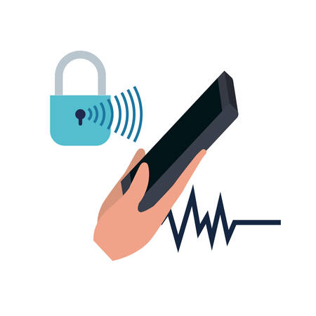 hand with smartphone and padlocked vector illustration design