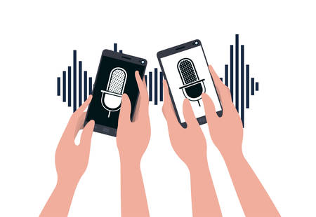 hands with smartphone and voice assistant vector illustration design 矢量图像