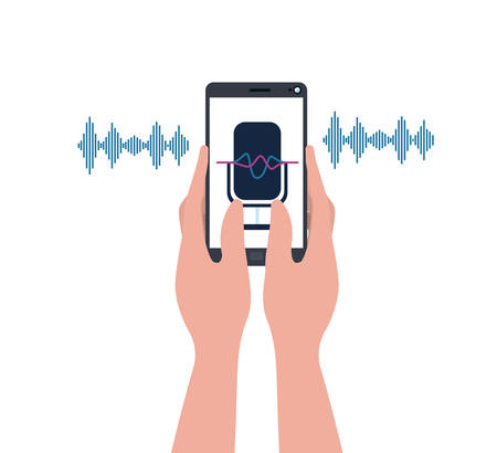 hands with smartphone and voice assistant vector illustration design Vectores
