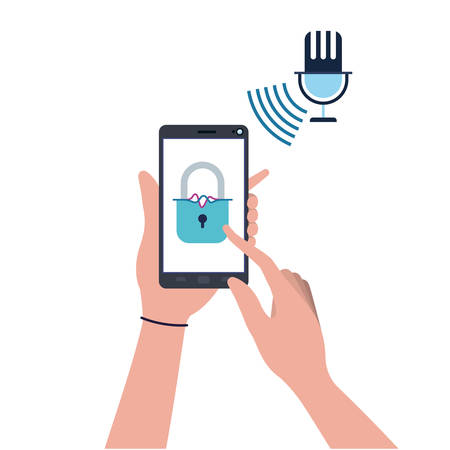 hands with smartphone and padlocked icon vector illustration design
