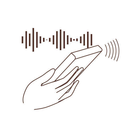 hand with smartphone and sound wave vector illustration design