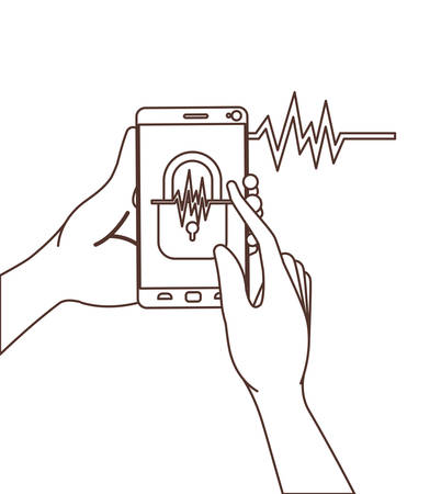 hands with smartphone and padlocked vector illustration design