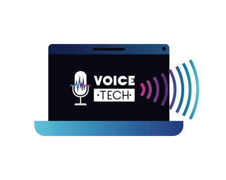 voice tech label with laptop and voice assistant vector illustration design