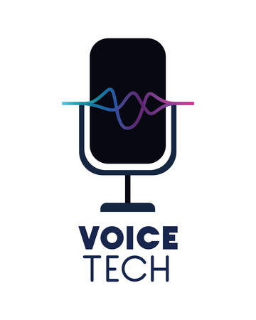 voice tech label with microphone and sound wave vector illustration design Иллюстрация