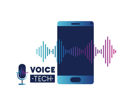 voice tech label with smartphone and sound wave vector illustration design