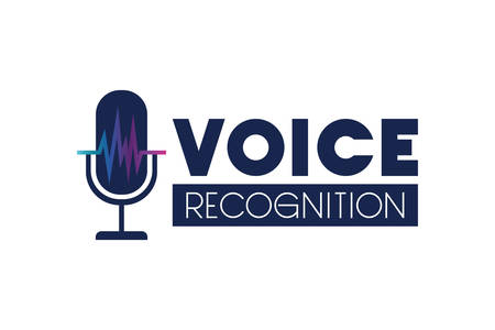 voice tech label with microphone and sound wave vector illustration design