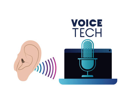 voice tech label with ear and laptop vector illustration design Vettoriali
