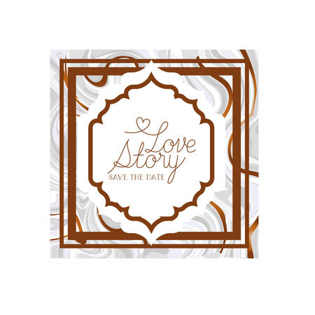 love story label with marble texture