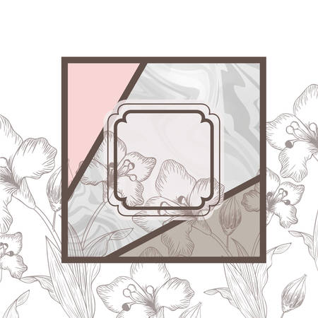 victorian with frame and flowers isolated icon vector illustration design