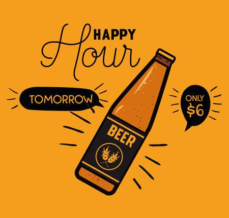 happy hour beers label with bottle vector illustration design