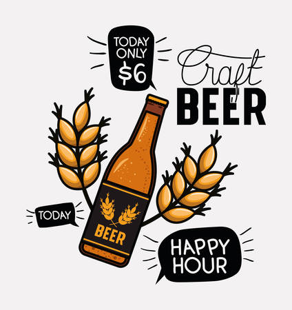 happy hour beers label with bottle and leafs vector illustration design