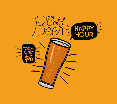 happy hour beers label with glass vector illustration design
