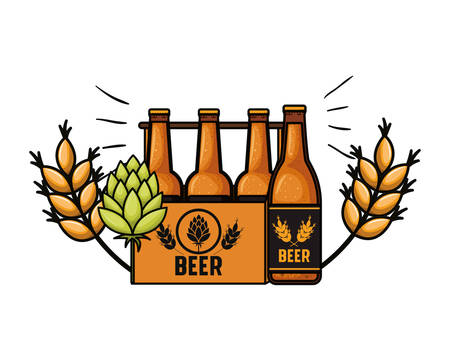 box with beer bottles isolated icon vector illustration