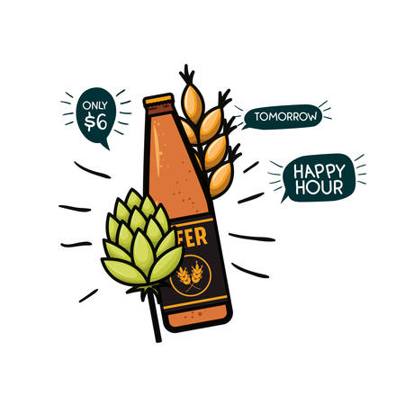 bottle of beer and wheat isolated icon vector 向量圖像