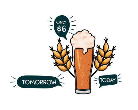 beer with foam and wheat isolated icon vector illustration design Illustration