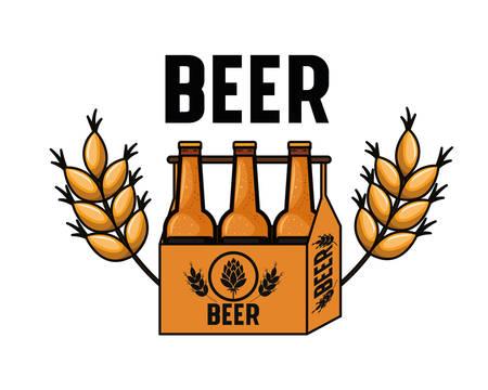 Box mit Bierflaschen isoliert Symbol Vektor Illustration Design
