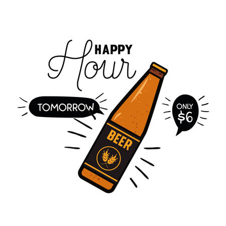 happy hour label with beer isolated icon vector illustration design
