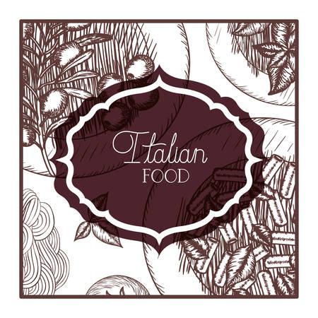 elegant frame victorian with italian food vector illustration