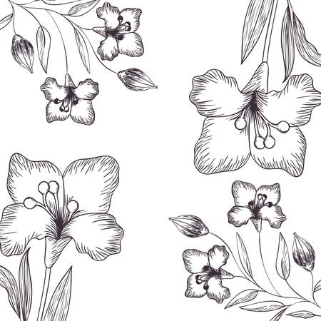pattern flowers and leafs isolated icon vector illustration