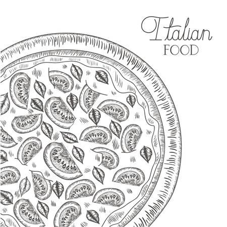 delicious italian pizza isolated icon vector illustration