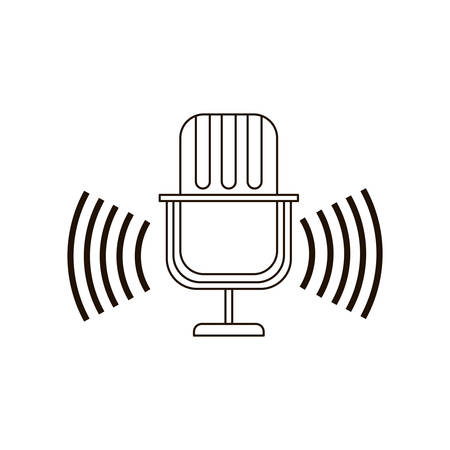 microphone with sound wave isolated icon vector illustration design