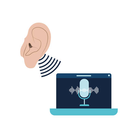 ear with sound wave and laptop vector illustration design