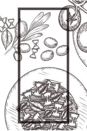 delicious italian food in drawing vector illustration Иллюстрация