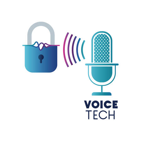 voice tech label with security padlock and microphone vector illustration design