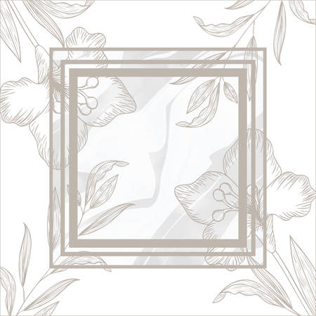flowers and leafs with frame isolated icon vector illustration design Ilustracja